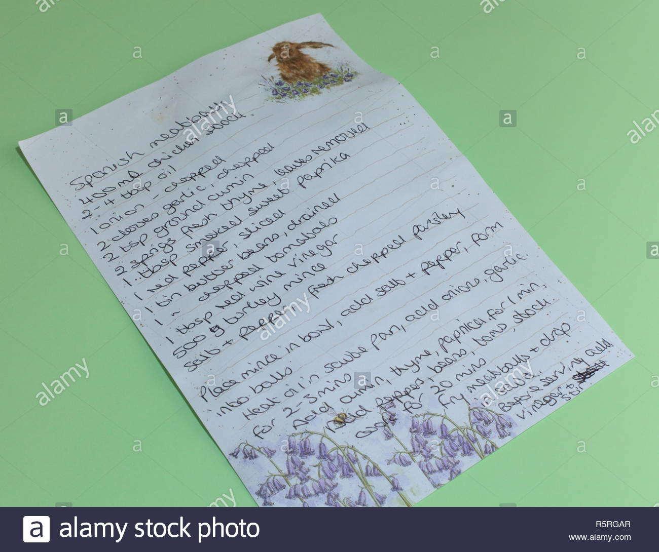 A Hand Written Recipe For Spanish Meatballs Stock Photo