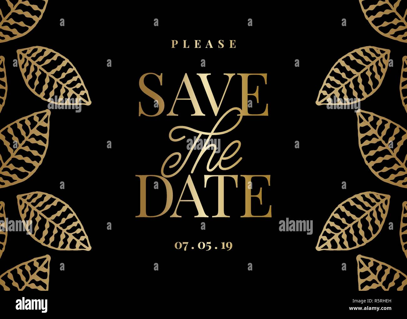 save the date template with hand drawn golden leaf shapes and sample