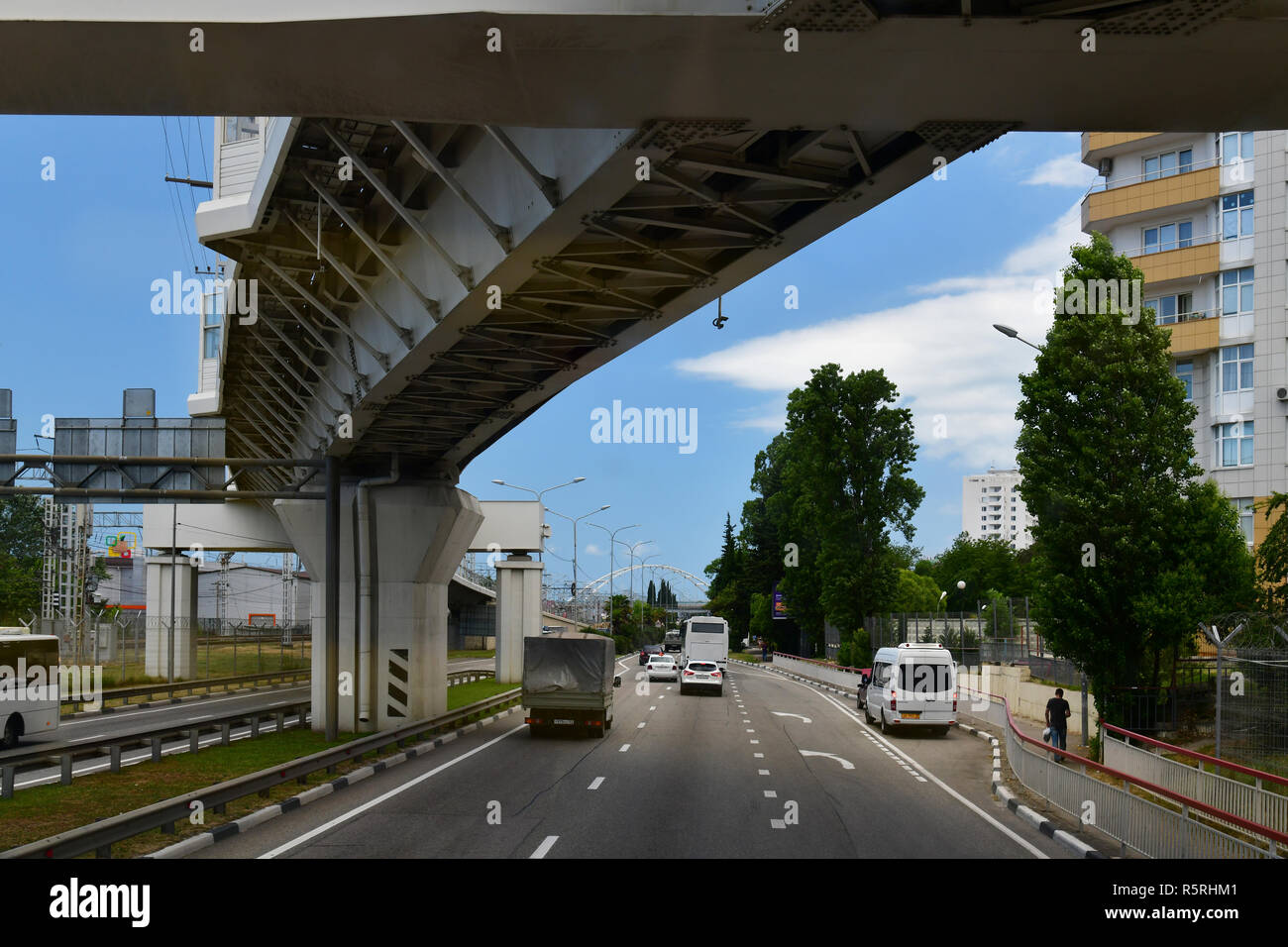 Sochi, Russia - June 2 2018. Overpasses on the highway A-147 from Adler to Sochi - Stock Image