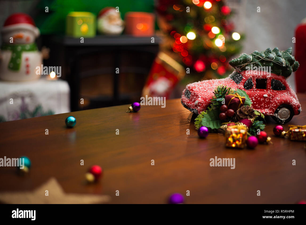 Christmas Decoration Background With Christmas Tree On Red Car Add Your Own Text Stock Photo Alamy