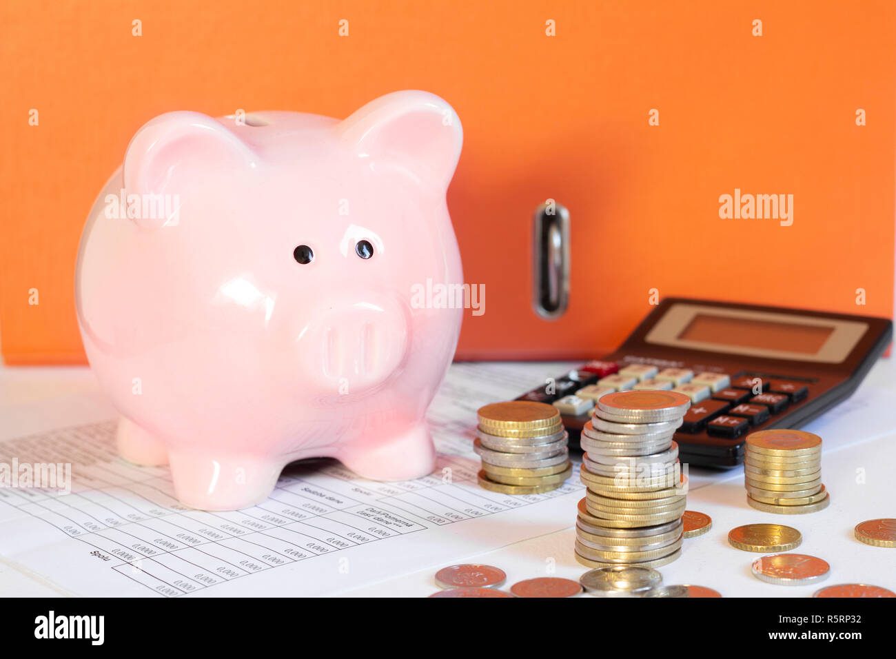 personal finances and savings concept - Stock Image