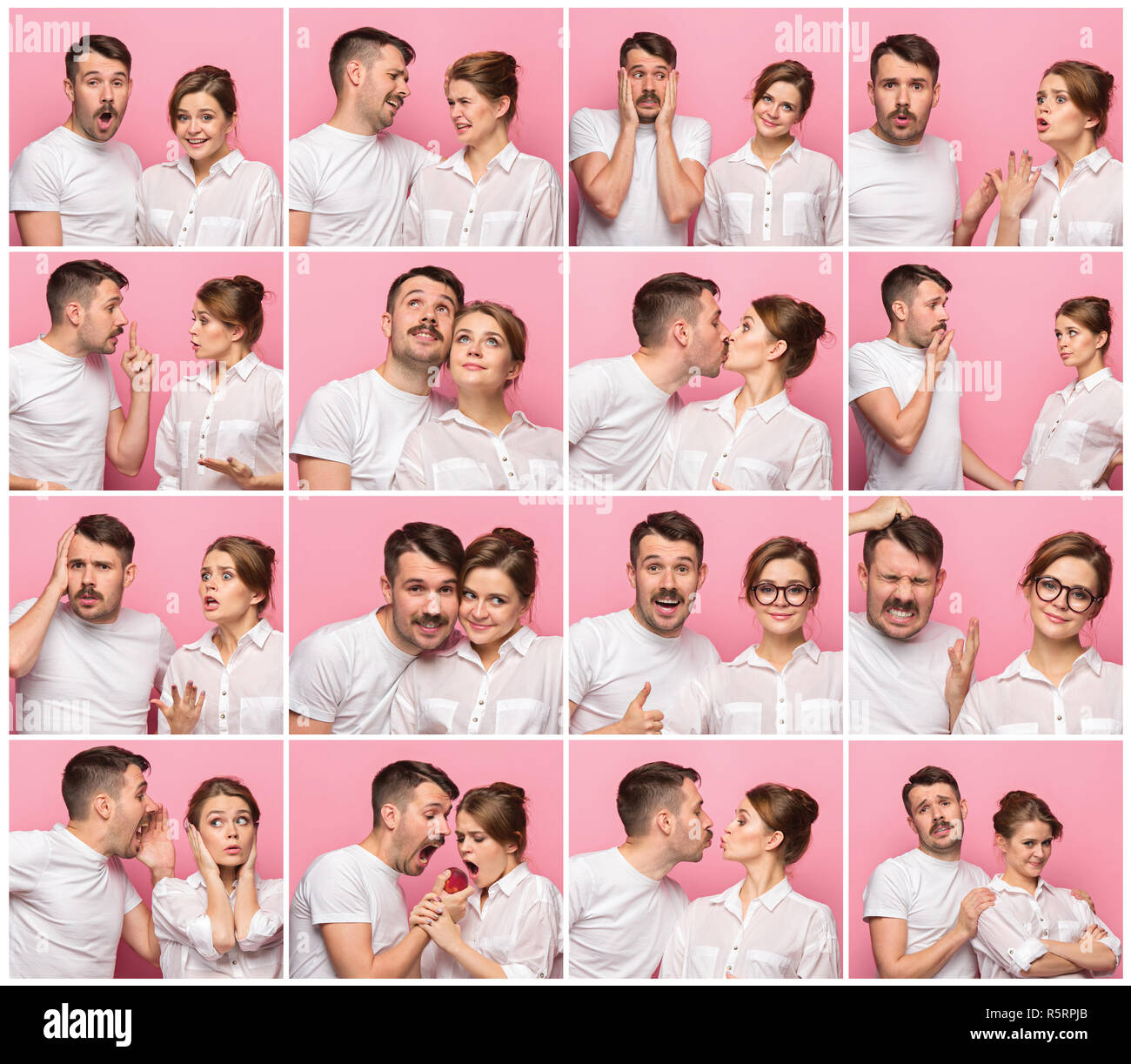 The collage from images of young man and woman on pink background - Stock Image