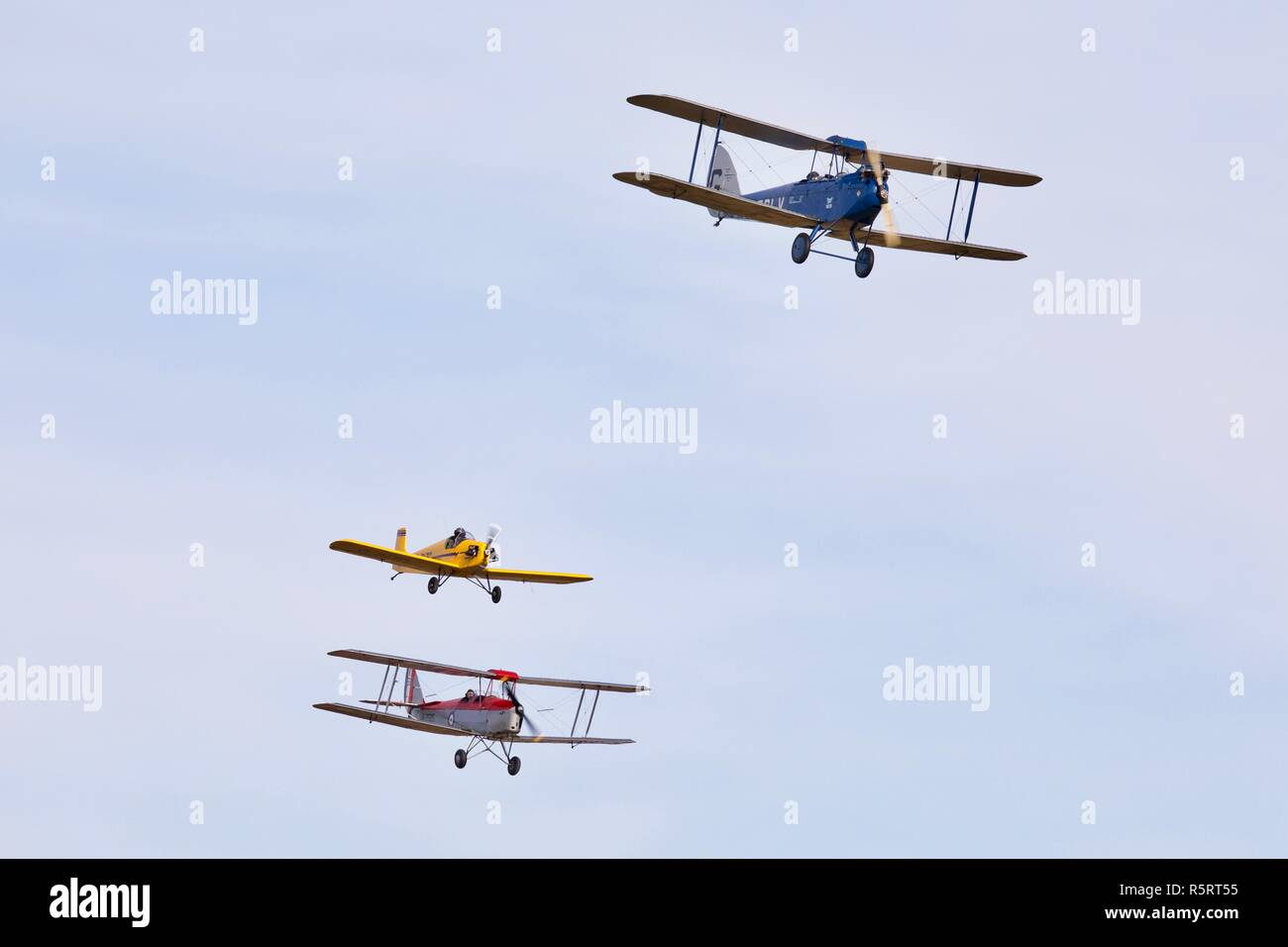 1925 DH60 Cirrus Moth, 1931 DH82a Tiger Moth and a Druine D-31 Turbulent acting out a air race at Shuttleworth Race Day Airshow on the 7 October 2018 - Stock Image