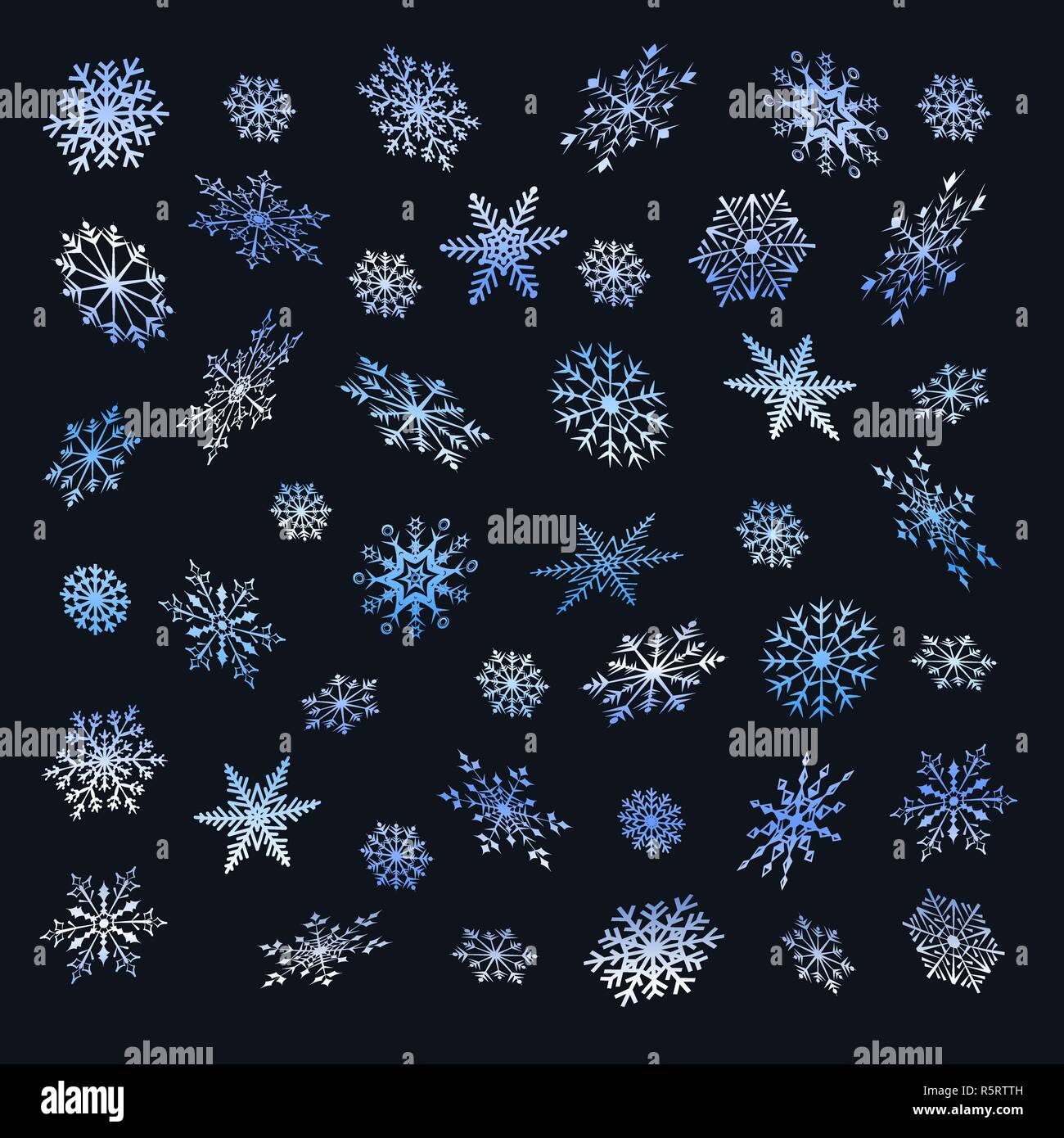 Set of Christmas snowflakes on a dark background. - Stock Image
