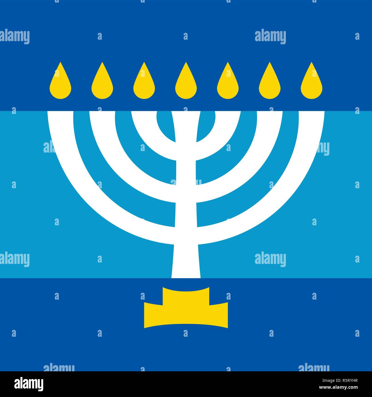 Menorah (ancient Hebrew seven-candleholder), sacred candelabrum with seven lamps, used in The Temple in Jerusalem. Traditional Religious Symbol. - Stock Vector