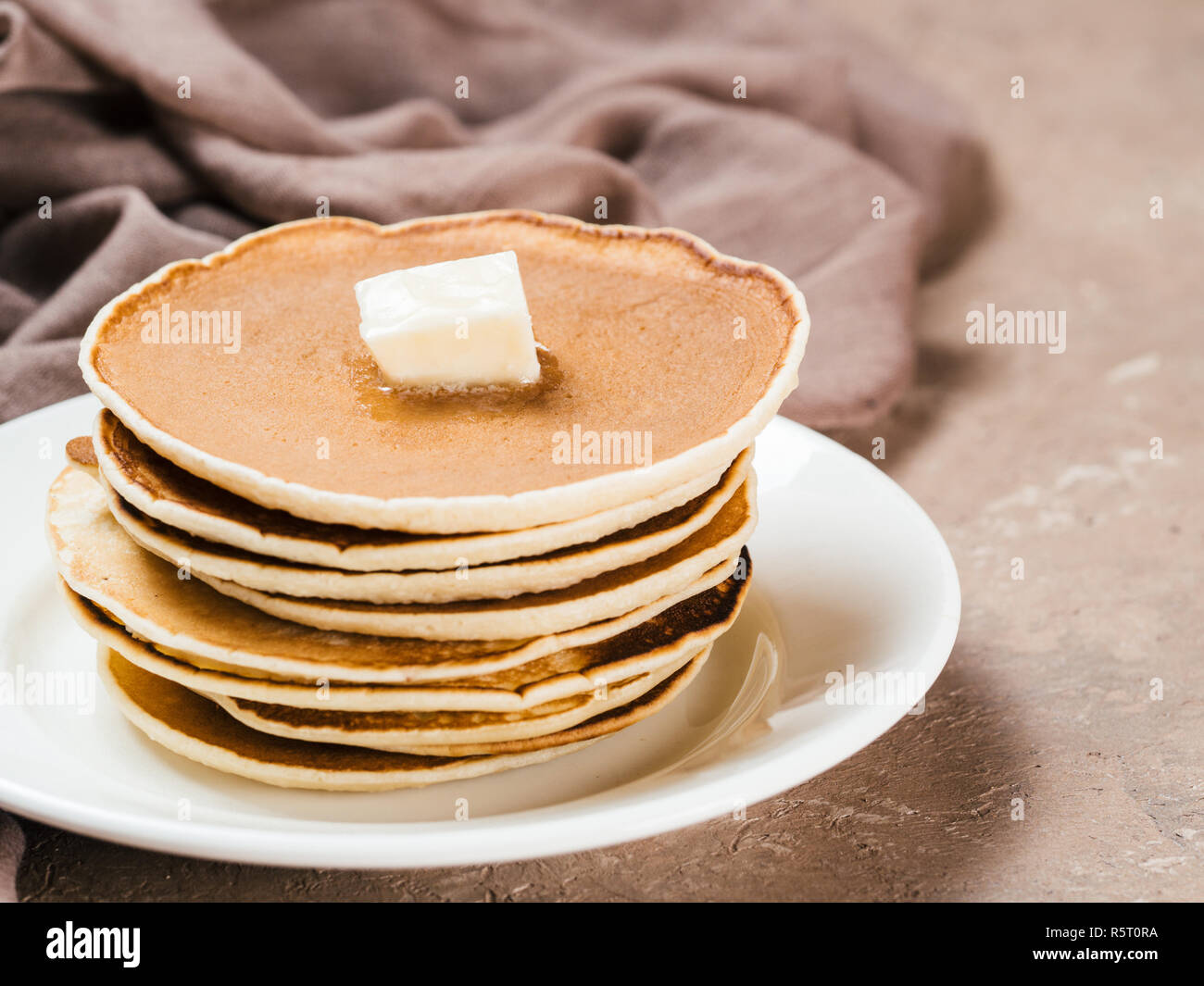 stack of homemade pancakes - Stock Image