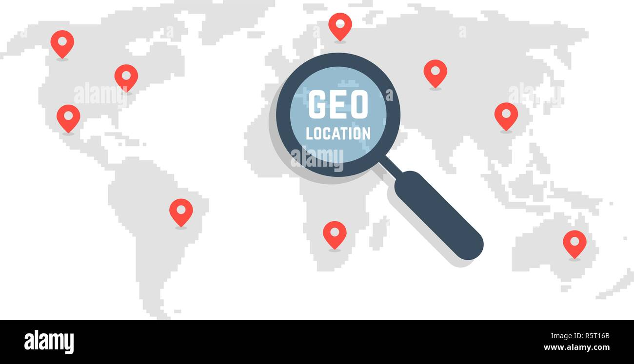 pixel art world map like geo location - Stock Vector
