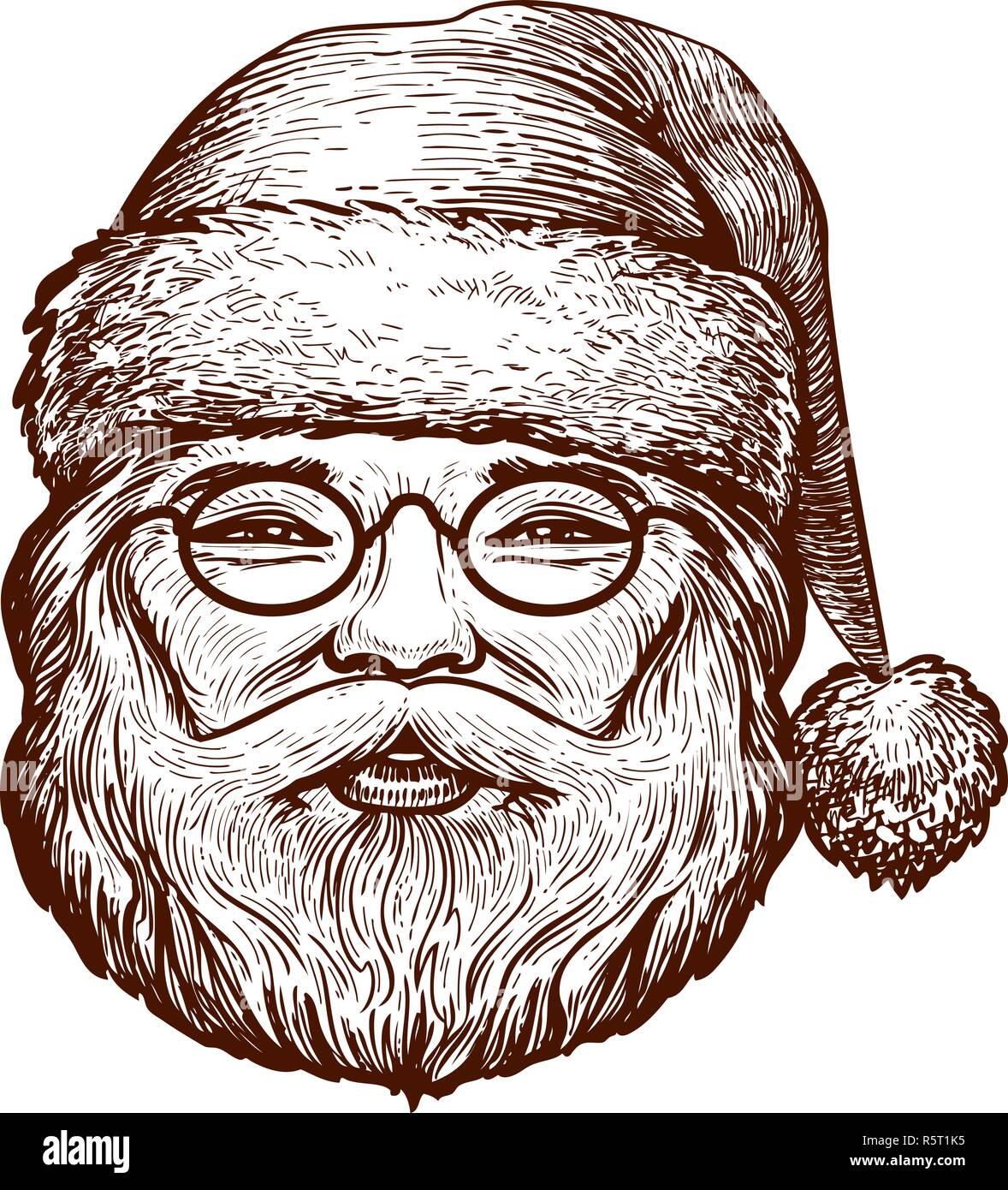 Portrait Of Happy Santa Claus Sketch Christmas Greeting