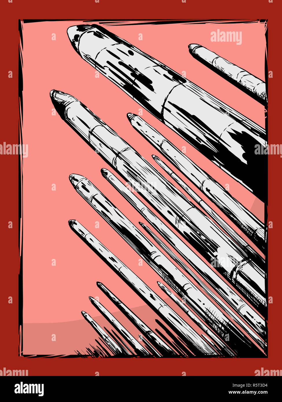 Nuclear Missiles Pointing Upward - Stock Image
