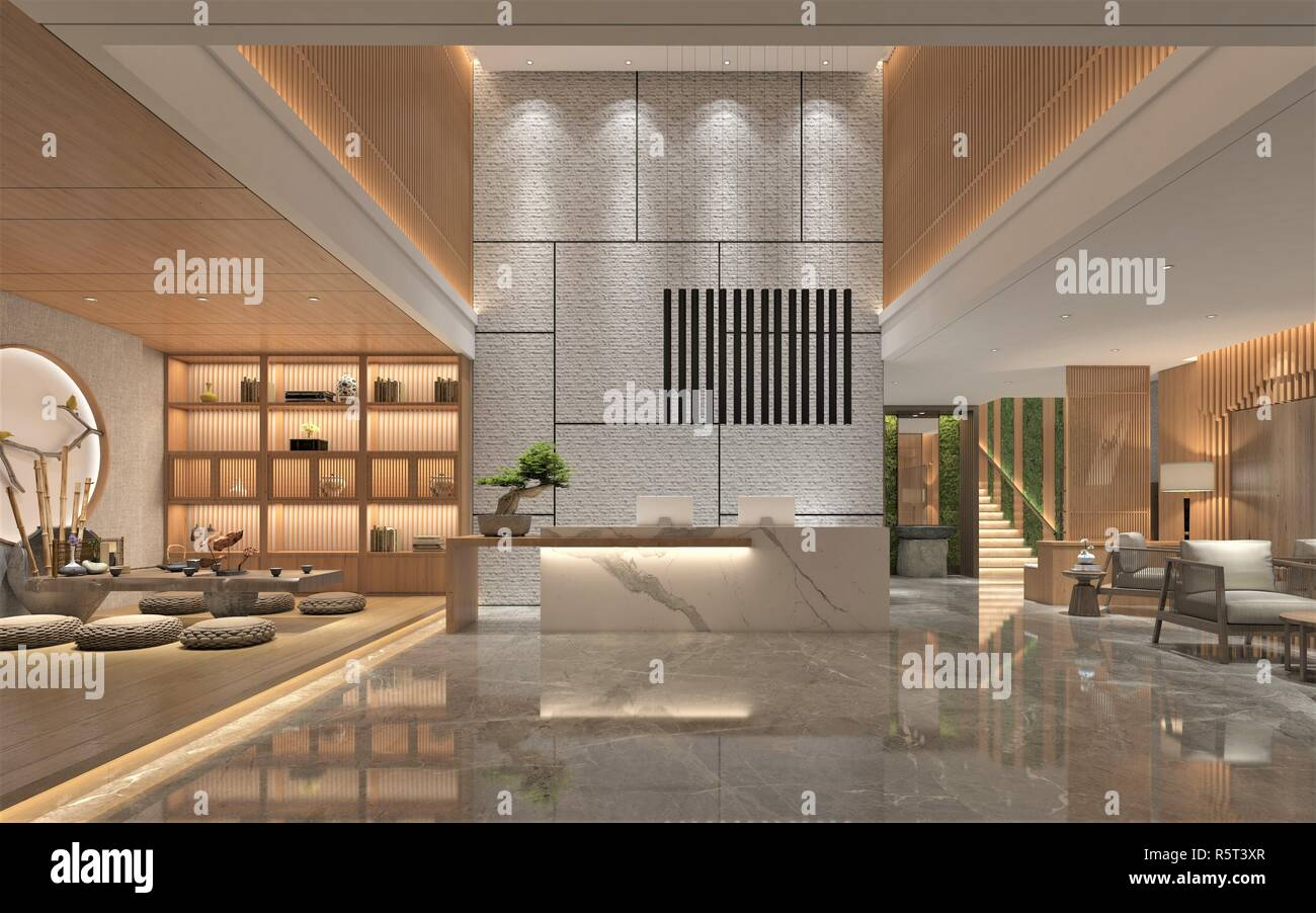 Modern and Luxury Hotel Lobby Reception - Stock Image