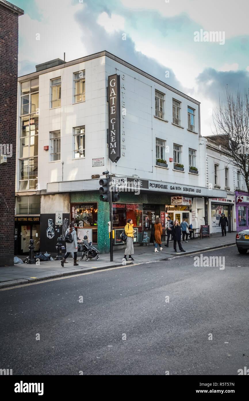 The Gate cinema, Notting Hill Gate, London, W8, UK - Stock Image