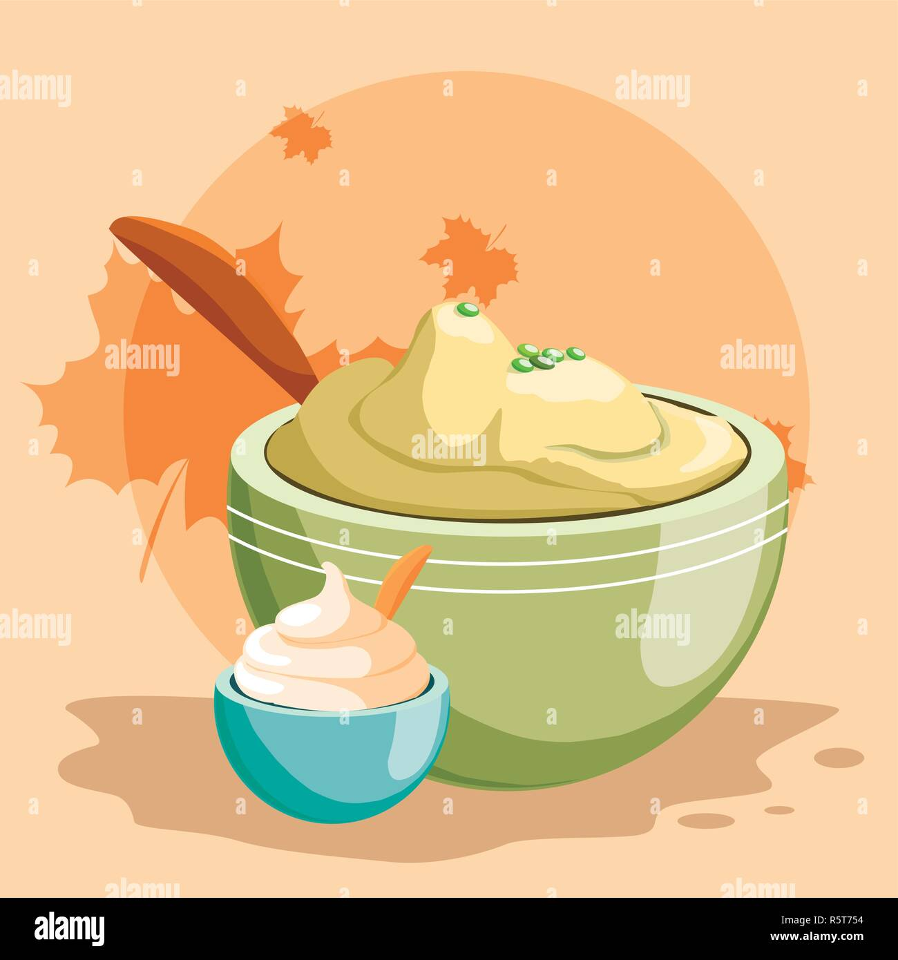 bowl with mashed potatoes over orange background, vector illustration - Stock Vector