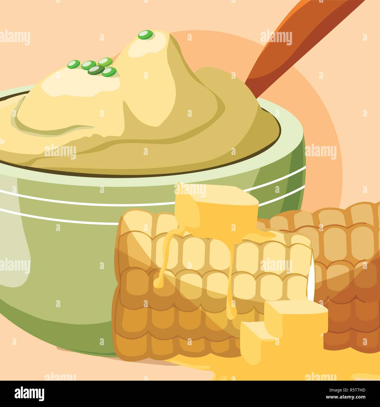 grilled corn and bowl with mashed potatoes over orange background, vector illustration - Stock Vector
