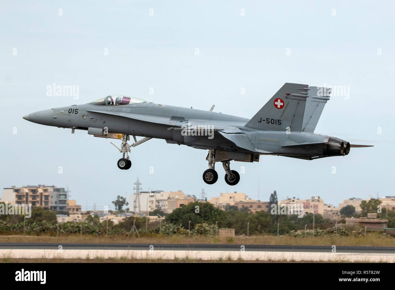 Swiss Air Force McDonnell Douglas F/A-18C Hornet participating in the Malta Airshow 2014. - Stock Image