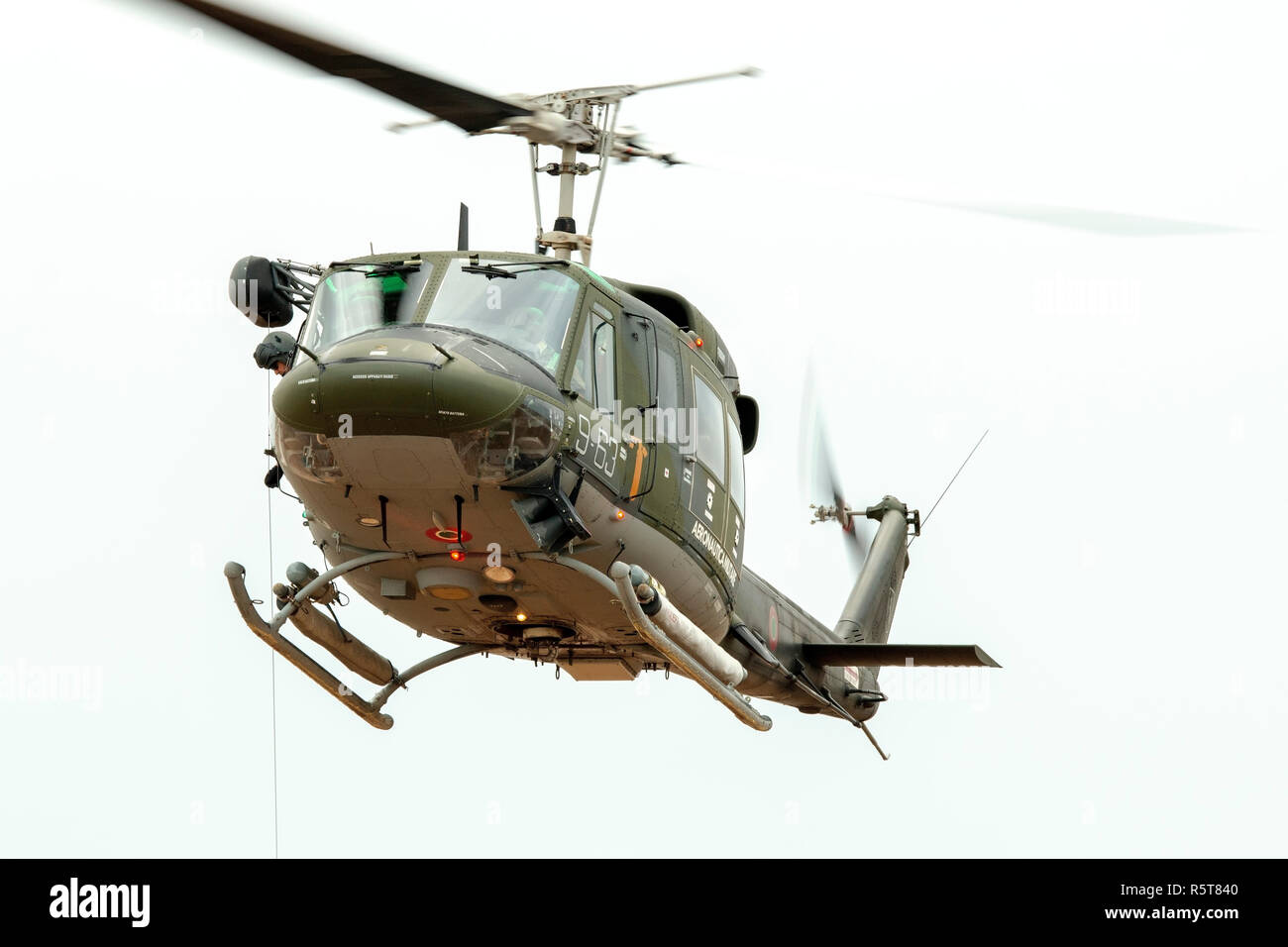 Italian Air Force Agusta AB-212AM based in Malta for a few years leaving the airfield after performing a rescue demonstration. Stock Photo