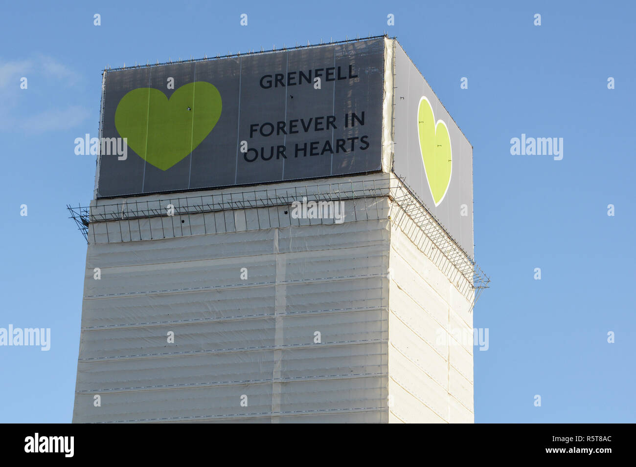 Grenfell Tower - Forever in our hearts, London, UK - Stock Image