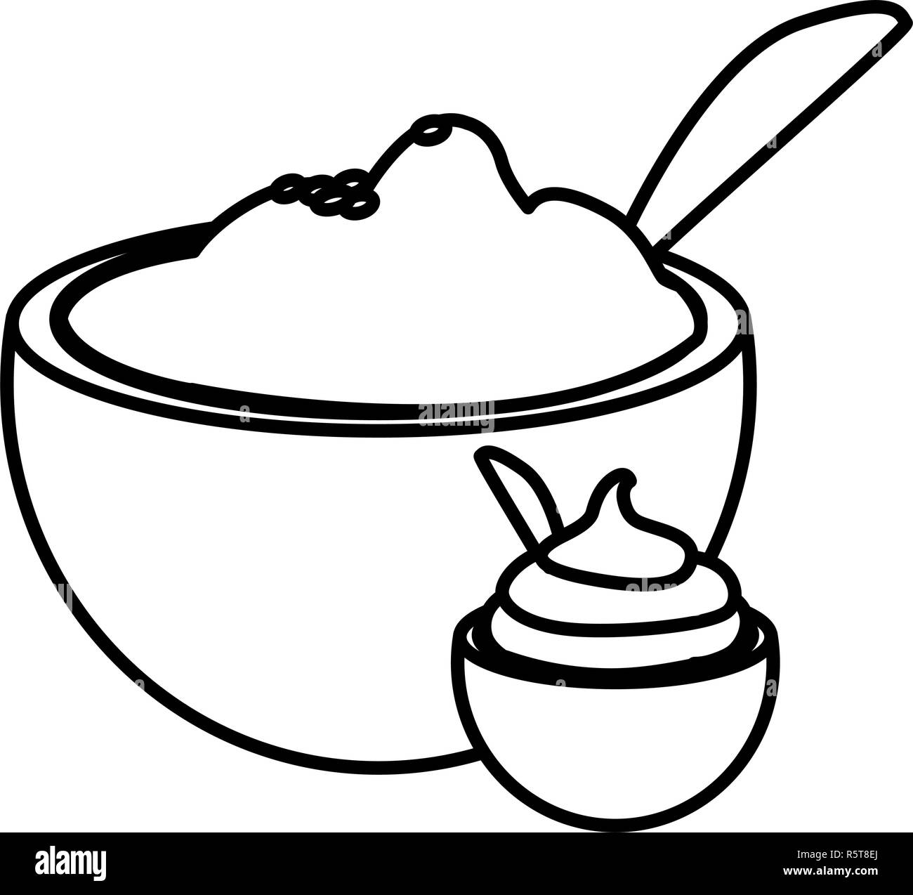 bowl with mashed potatoes over white background, vector illustration - Stock Vector