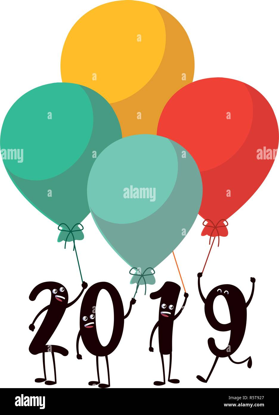 Cartoon 2019 Numbers Holding Balloons Over White Background Vector