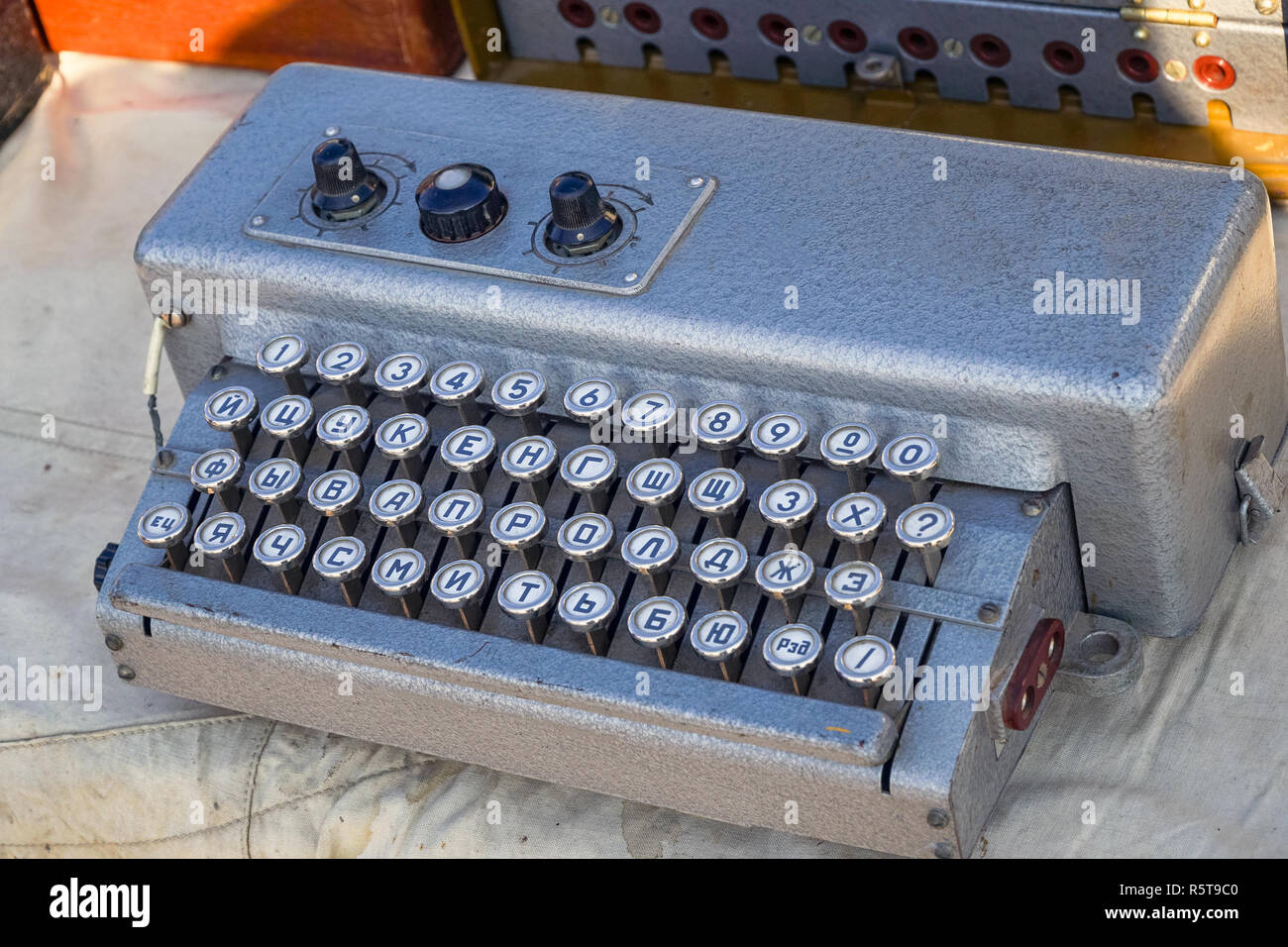 Electric retro keyboard for Telegraph or teletype - Stock Image