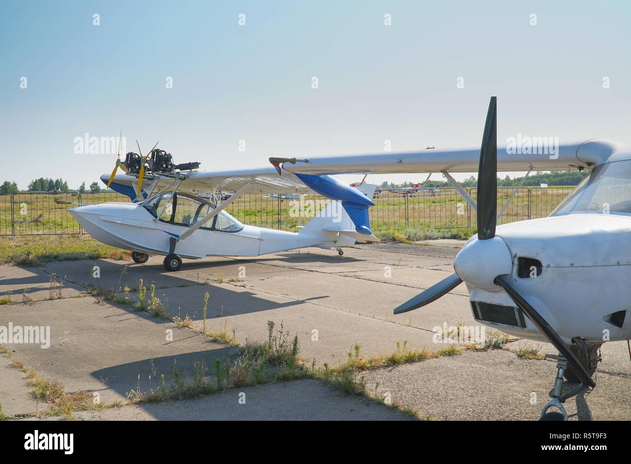 Light aircraft at the airport - Stock Image