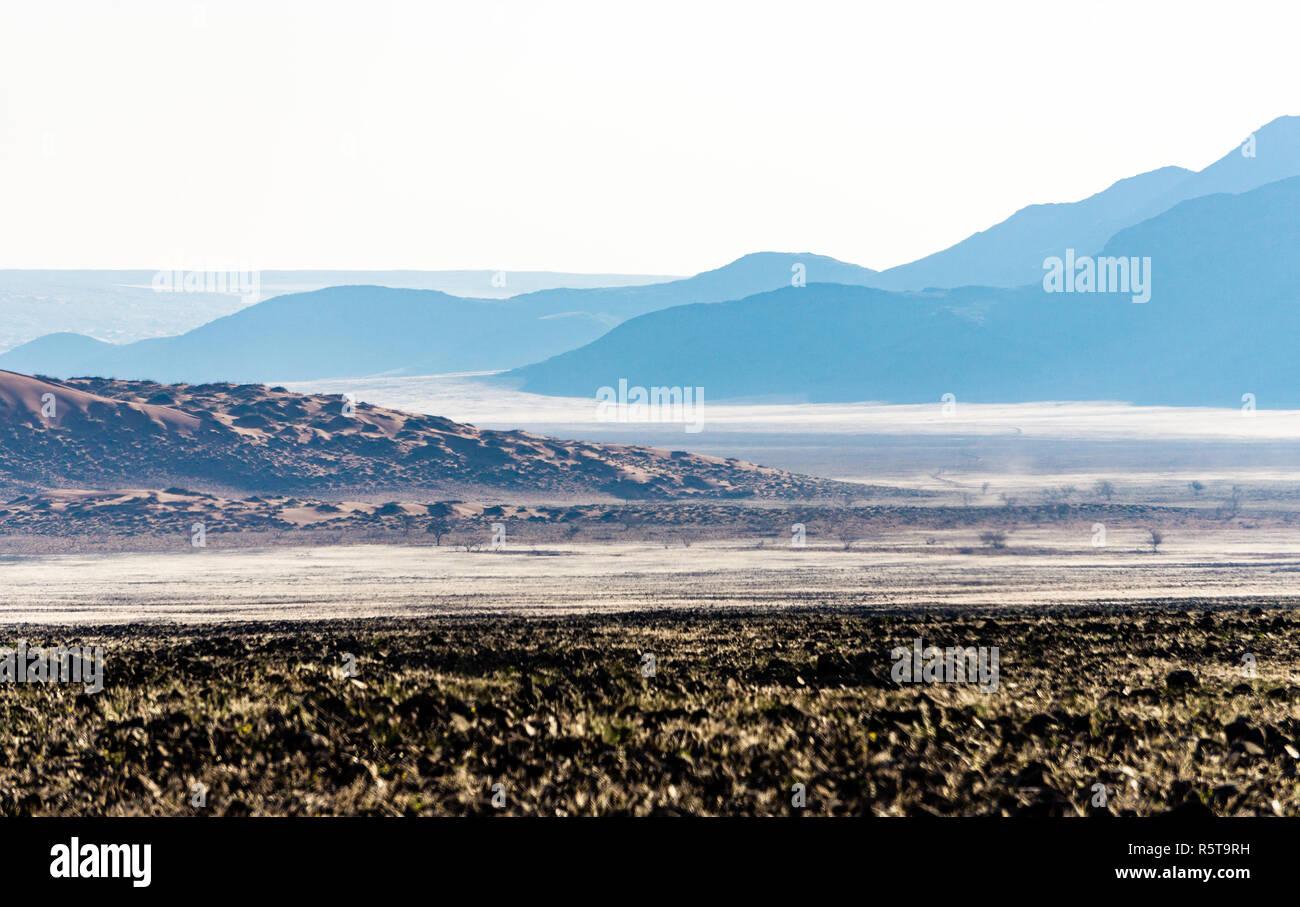 Namibia gravel road D707 Namib Naukluft desert - Stock Image