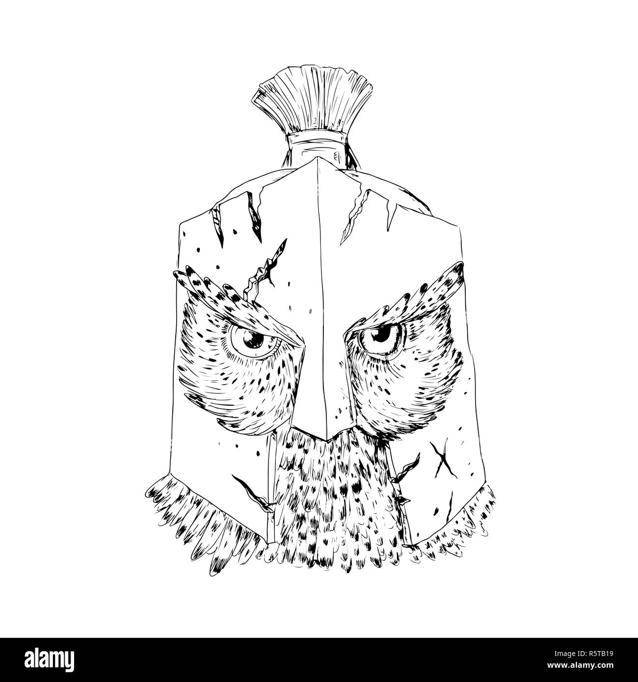 Horned Owl Spartan Helmet Drawing Stock Photo 227343573 Alamy