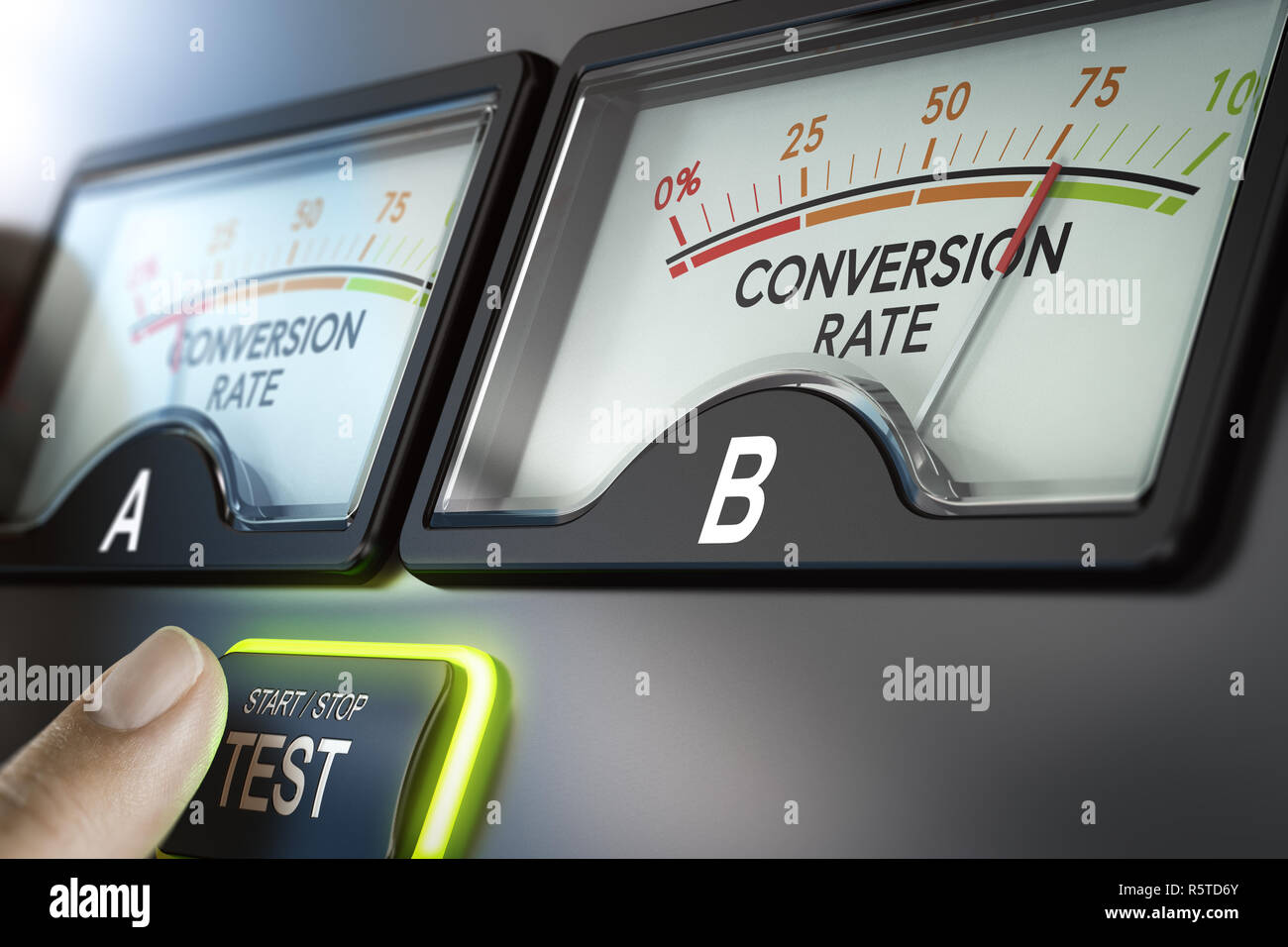 A B Testing or Split Test,Webpage Comparison and Optimization - Stock Image
