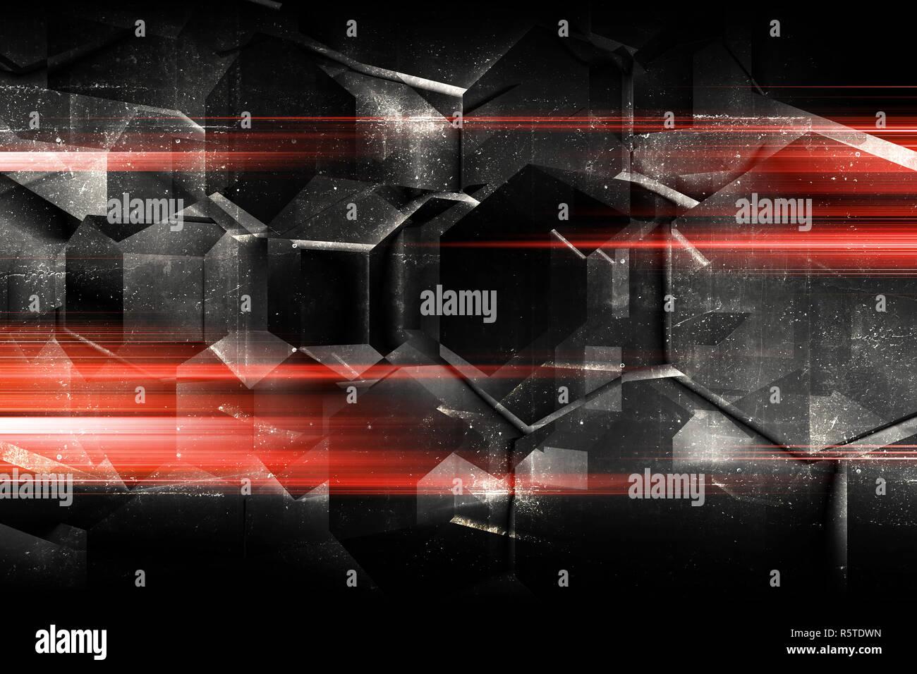 Abstract Dark Digital Background With Concrete Hexagonal