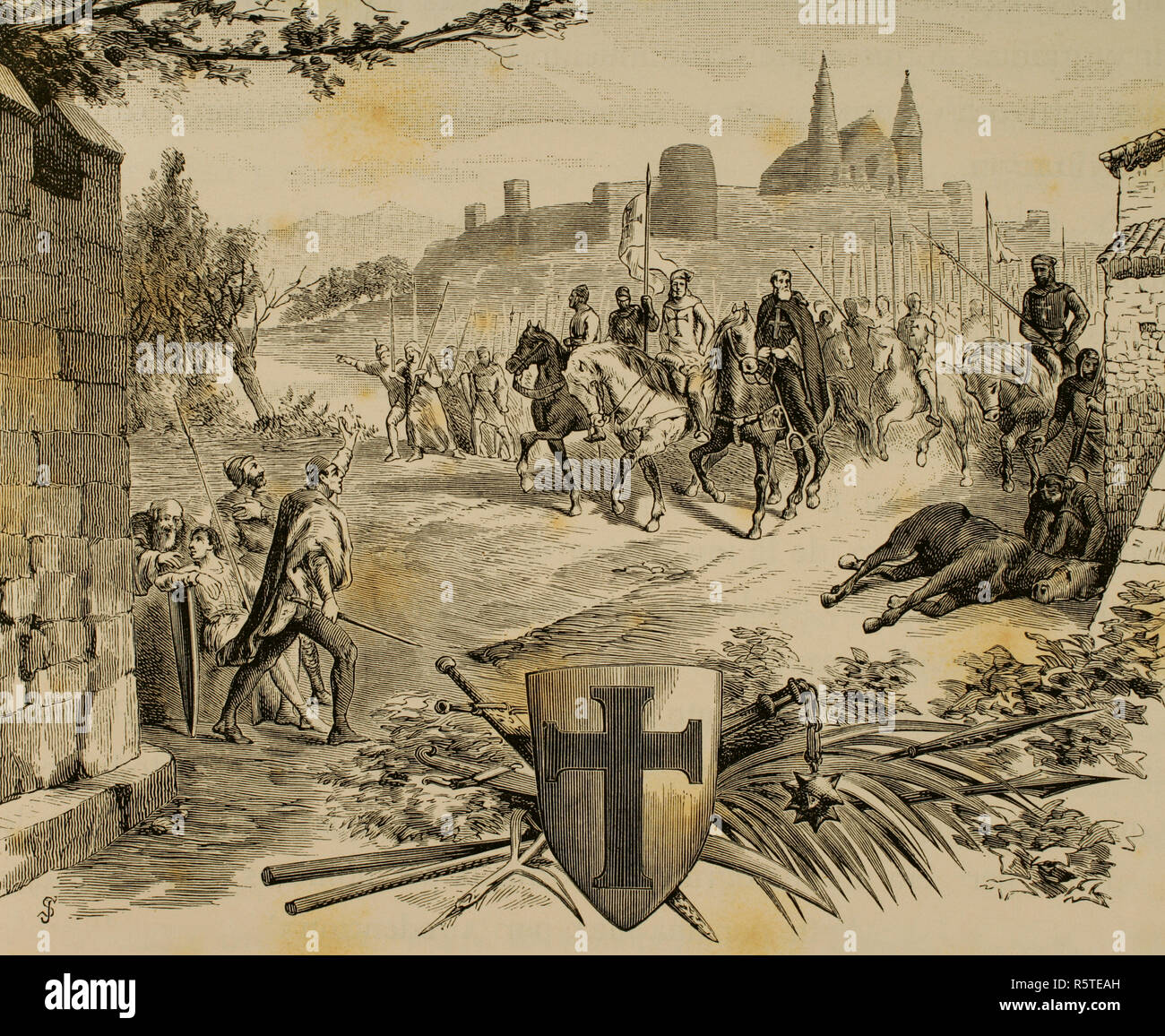 Middle Ages. Religious wars between the West and the East led by the Pope, carried out by Christian Latin Europe against Muslims, pagan Slavs, Jews, among others . Christian soldiers against infidels. Engraving. La Civilizacion (The Civilization), volume III, 1882. - Stock Image