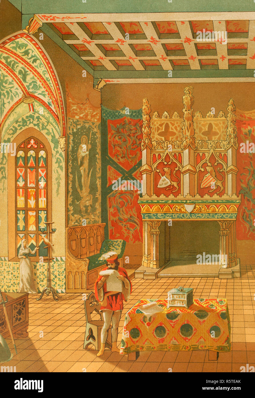 Europe. Middle Ages. Feudal Society (9th-15th century). Hall of a feudal castle. Chromolithography. La Civilizacion (The Civilization), volume III, 1882. - Stock Image