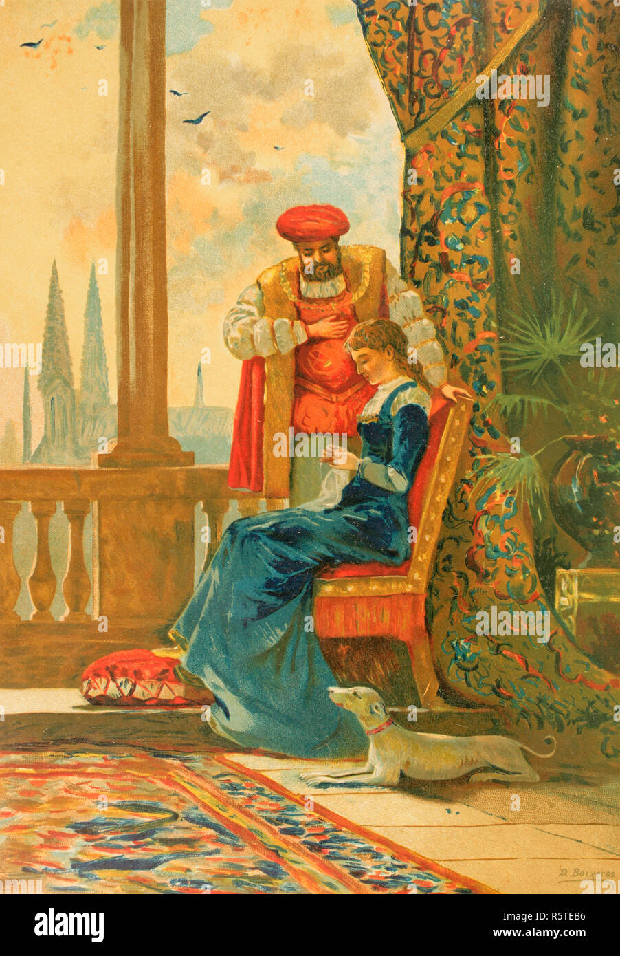 The King of England Henry VIII (1491-1547) with his second wife, Anne Boleyn (1507-1536). Drawing by Dionisio Baixeras (1862-1943). Chromolithography. La Civilizacion (The Civilization), volume III, 1882. - Stock Image