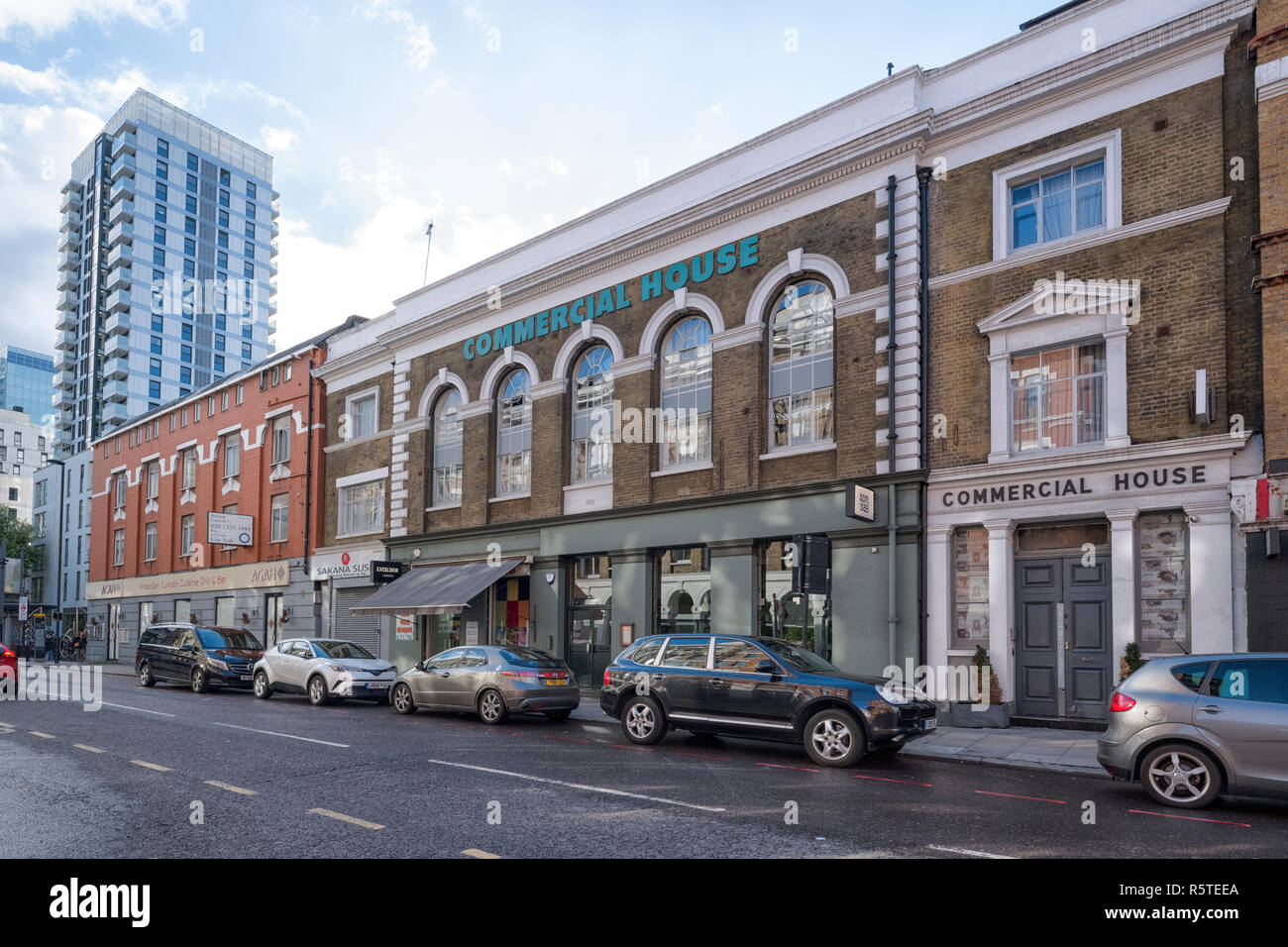 Commercial House, on Commercial Street, London E1, built in 1841 as a Jewish Infants School but converted into commerical premises at a later date. - Stock Image