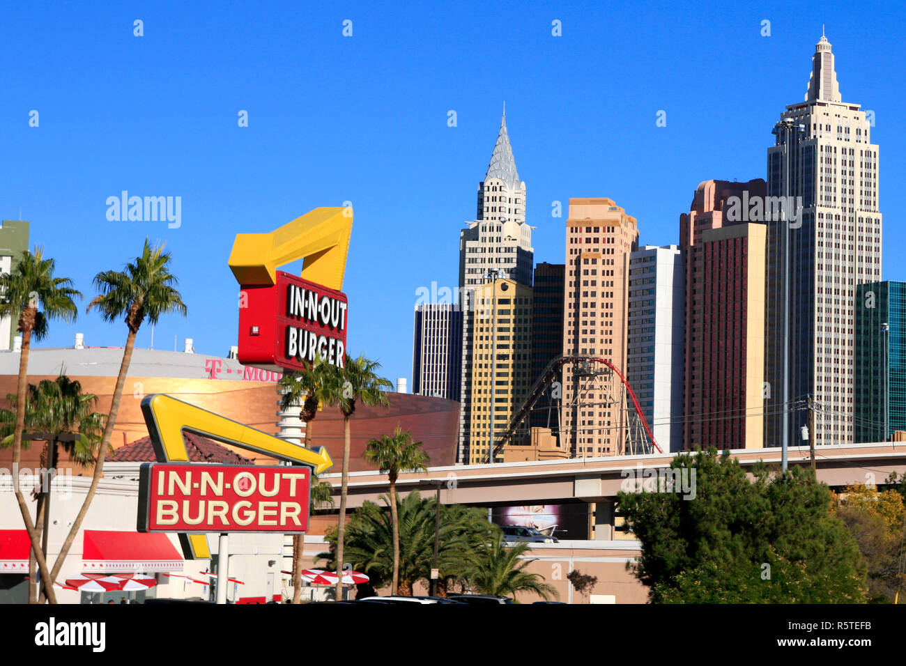 c816f03848a17 In-n-Out burger restaurant with skyscrapers of New York NY Las Vegas in