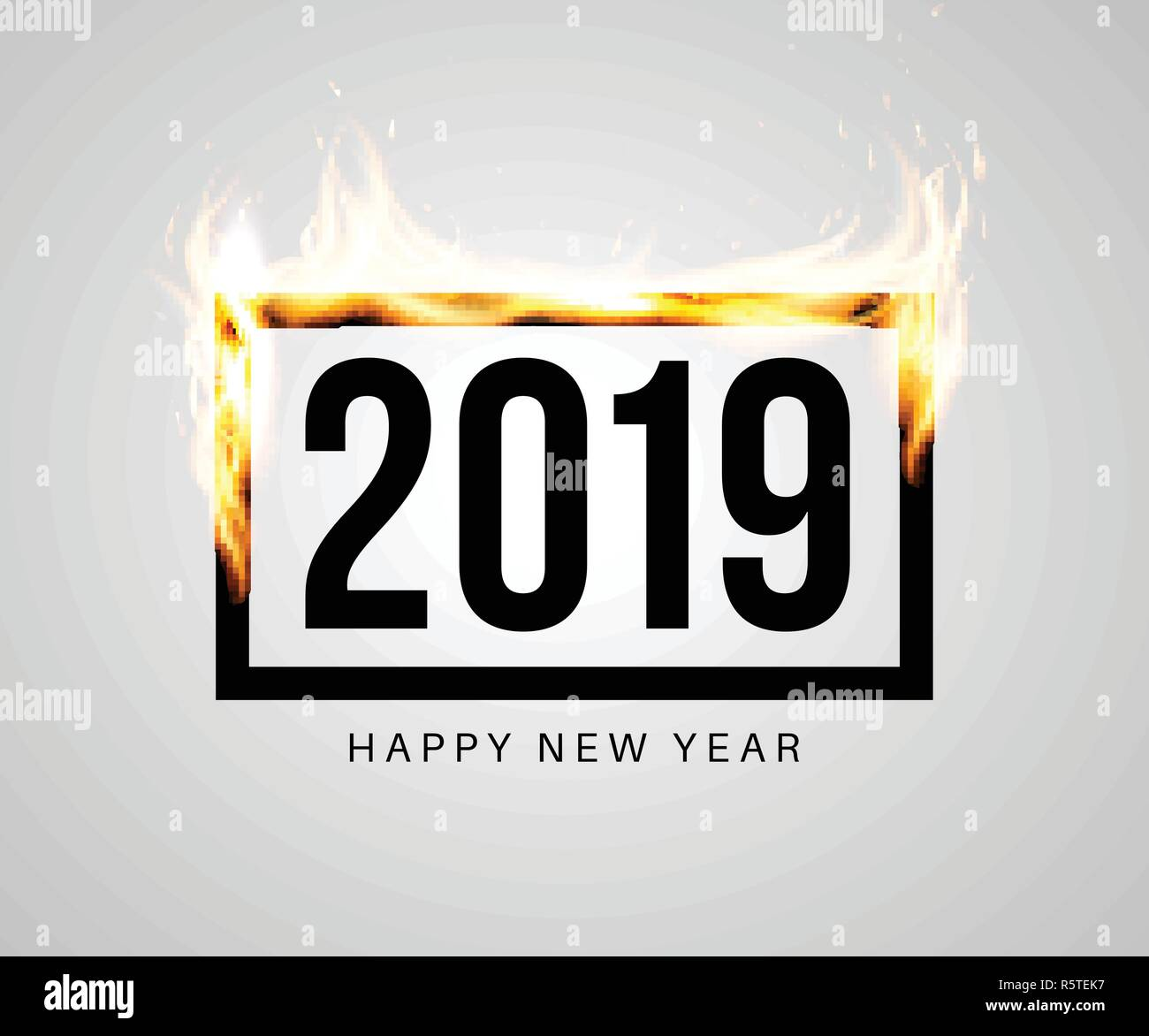 burning black frame with 2019 inside congratulatory banner or
