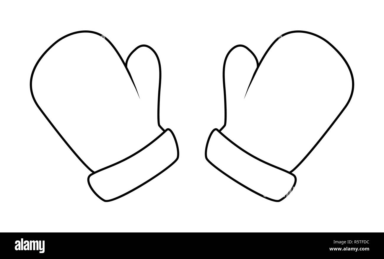 mittens silhouette winter cartoon gloves design icon symbol