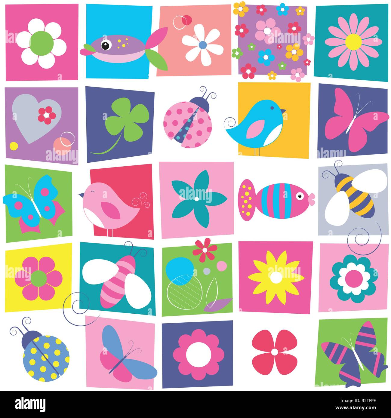 Birds bees ladybugs butterflies fish and flowers collection pattern on colorful rectangular background Stock Vector