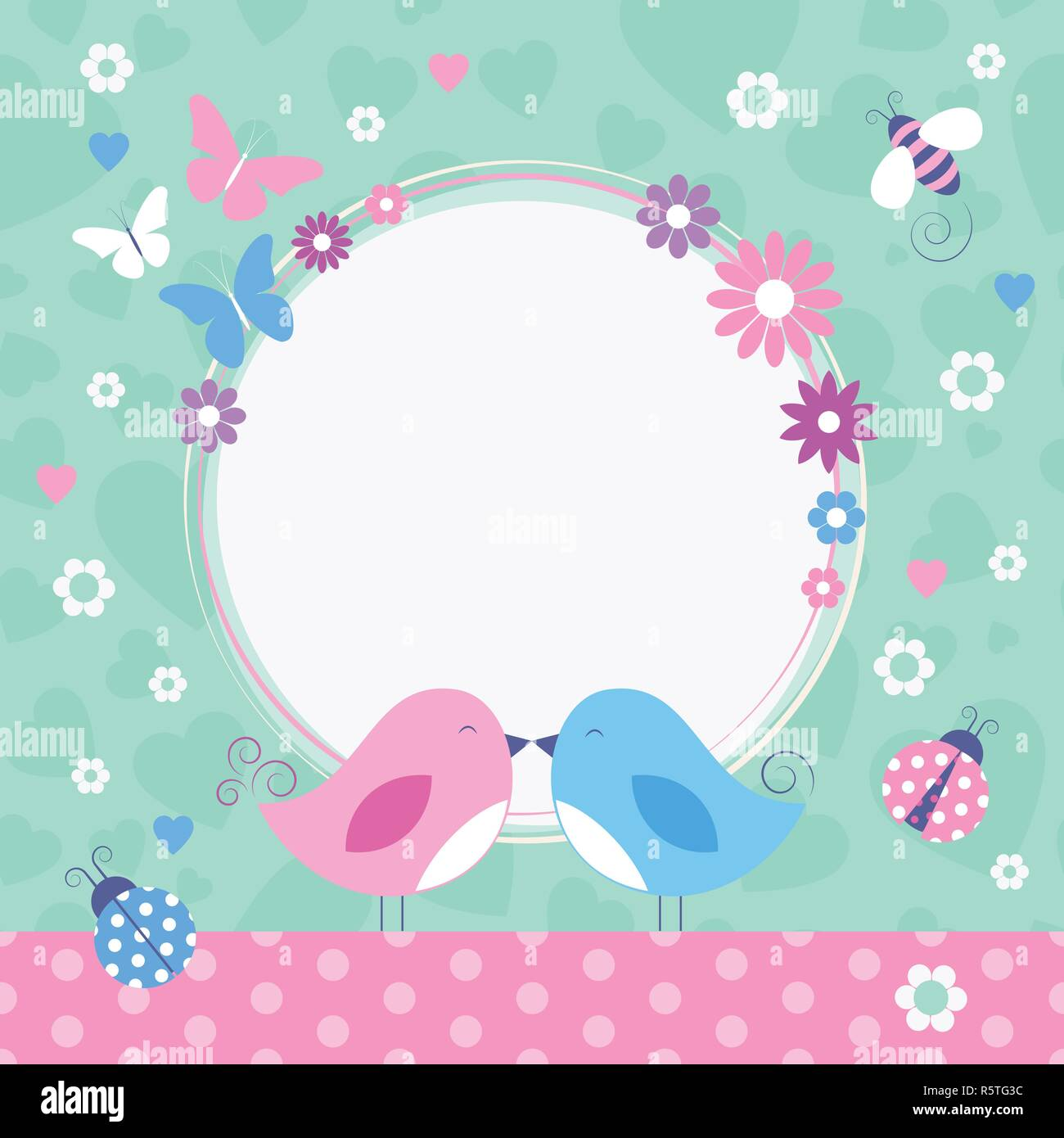 Flowery love birds border with bumble bee, ladybugs and butterflies on green and pink heart shape and polka dot pattern background Stock Vector