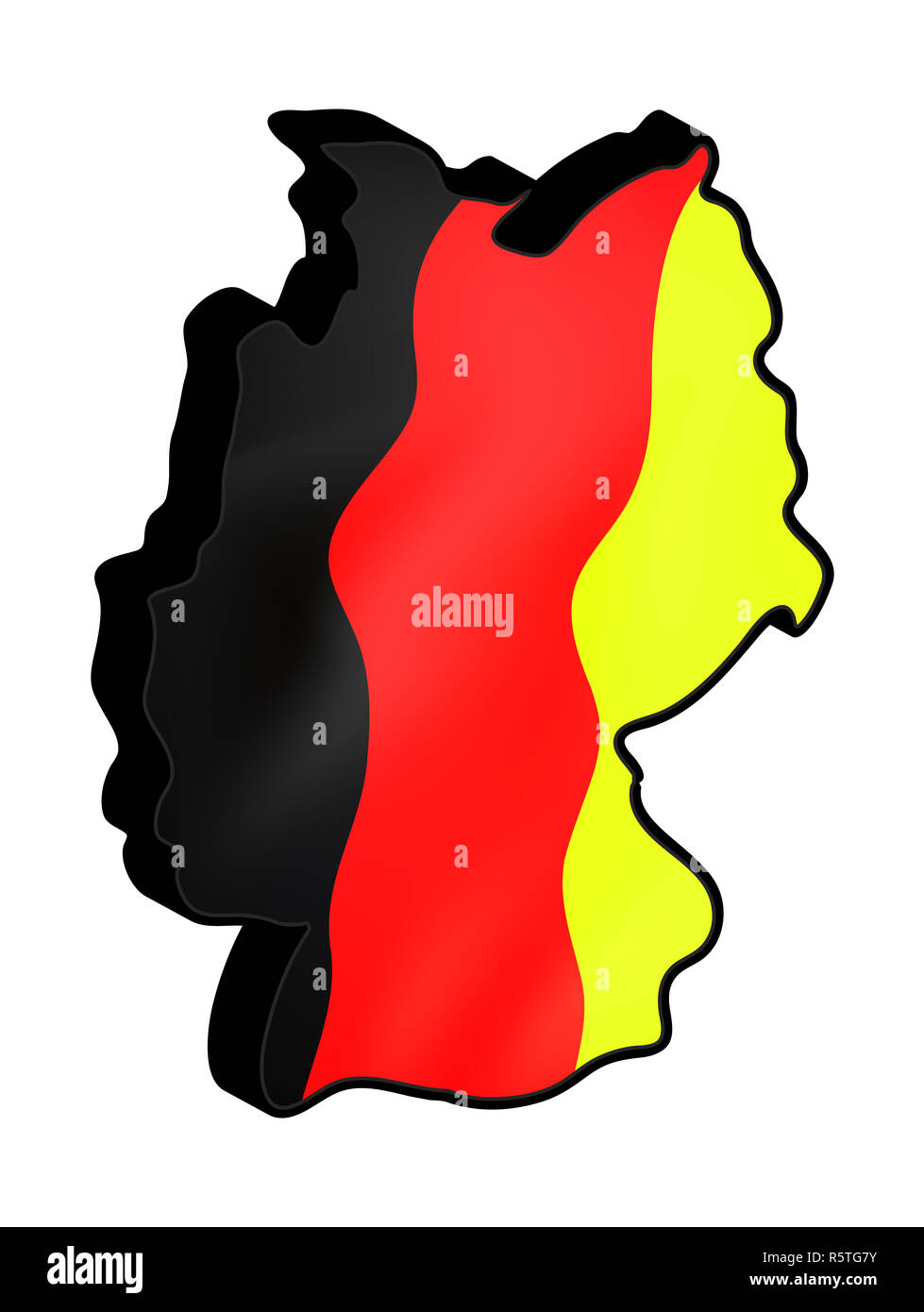 Germany map vector symbol icon  design. german flag colors illustration isolated on white background. - Stock Image