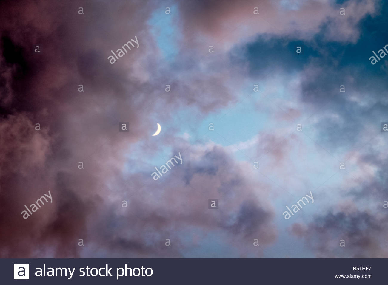 Night sky with moon light and clouds. - Stock Image