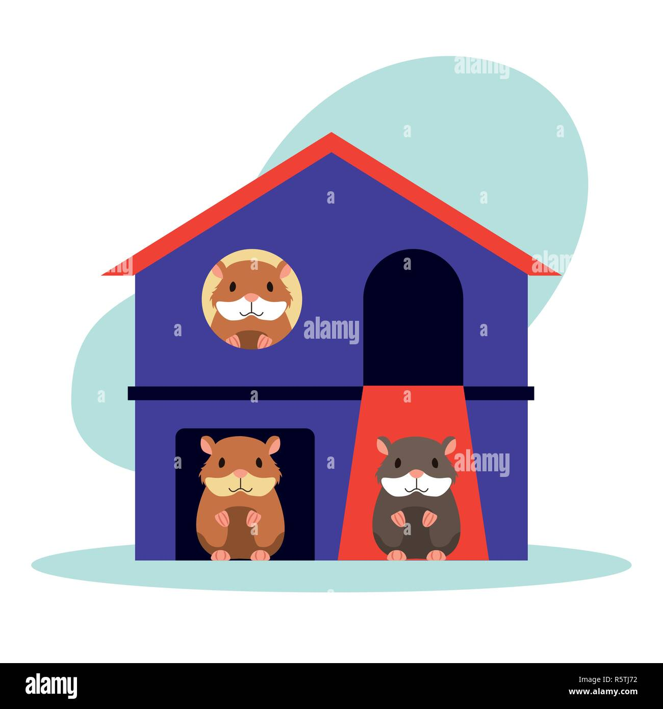 cute hamster house pet shop vector illustration - Stock Image