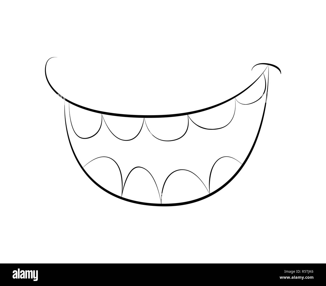 cartoon smile mouth lips with teeth vector silhouette outline illustration isolated on white background R5TJK6 cartoon open mouth black and white stock photos & images alamy