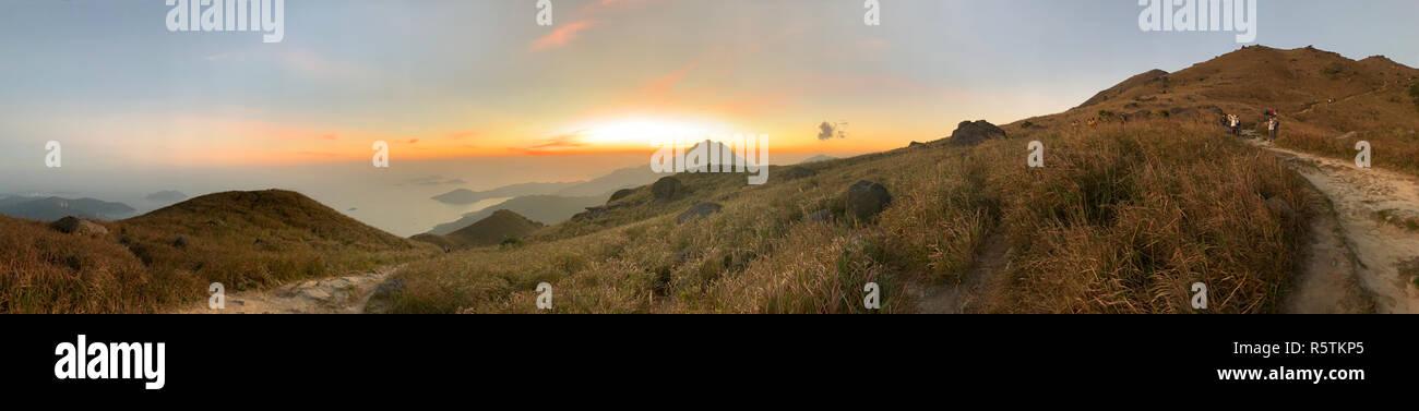 panoramic scenes of sunset peak - Stock Image
