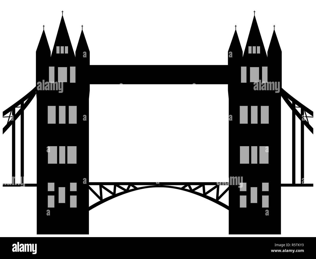 Image of cartoon Tower bridge silhouette. Vector illustration isolated on white background. - Stock Image