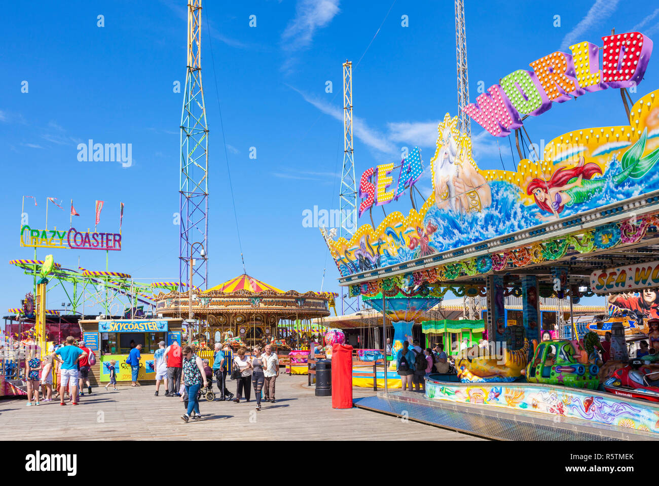 Lots of people on the South Pier fairground rides Adrenalin Zone South Pier Blackpool UK Lancashire England UK GB Europe - Stock Image