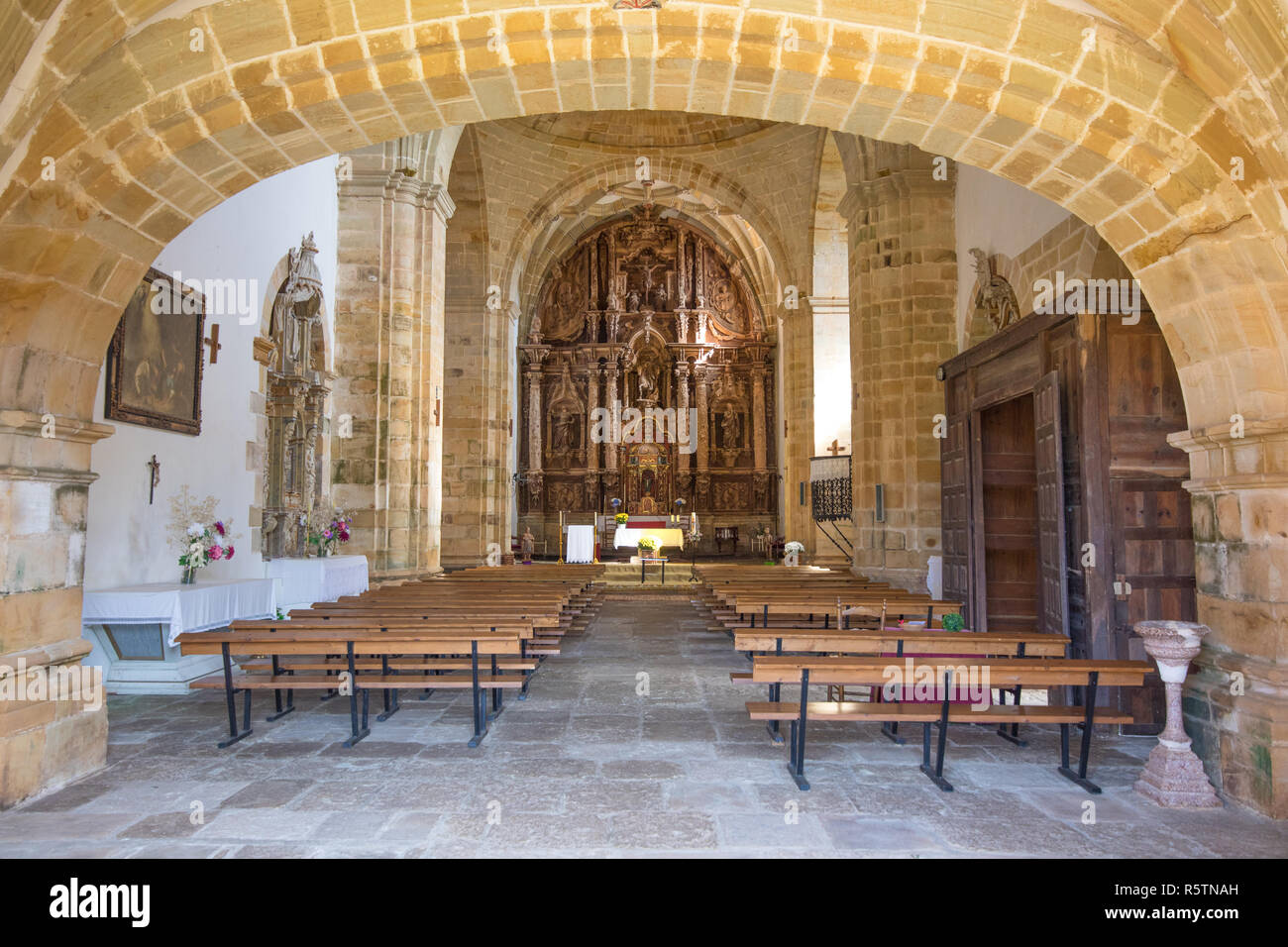 indoor of church of Saint Martin de Tours, colonial baroque style public monument from 1768, in Ciguenza, Alfoz Lloredo, Cantabria, Spain, Europe - Stock Image