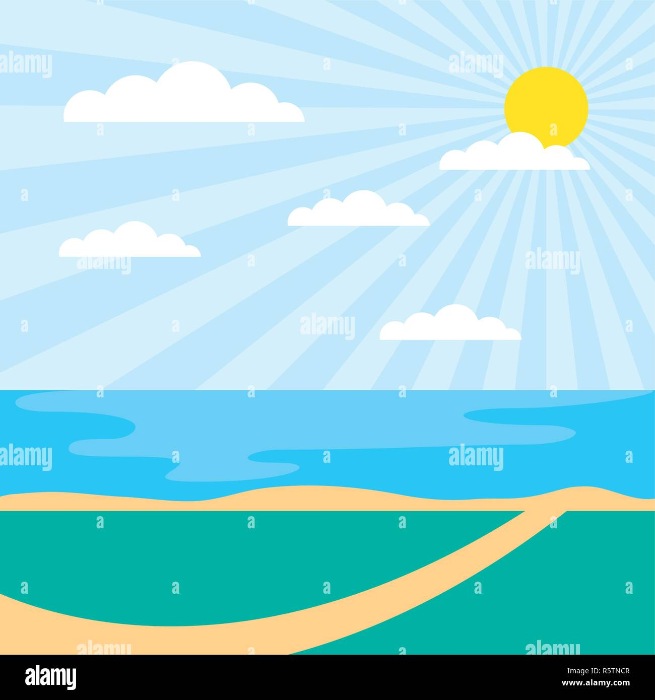 outdoor park sunny day lake fresh clouds vector illustration Stock