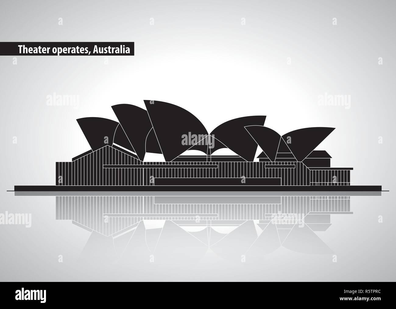 australia places relate - Stock Vector
