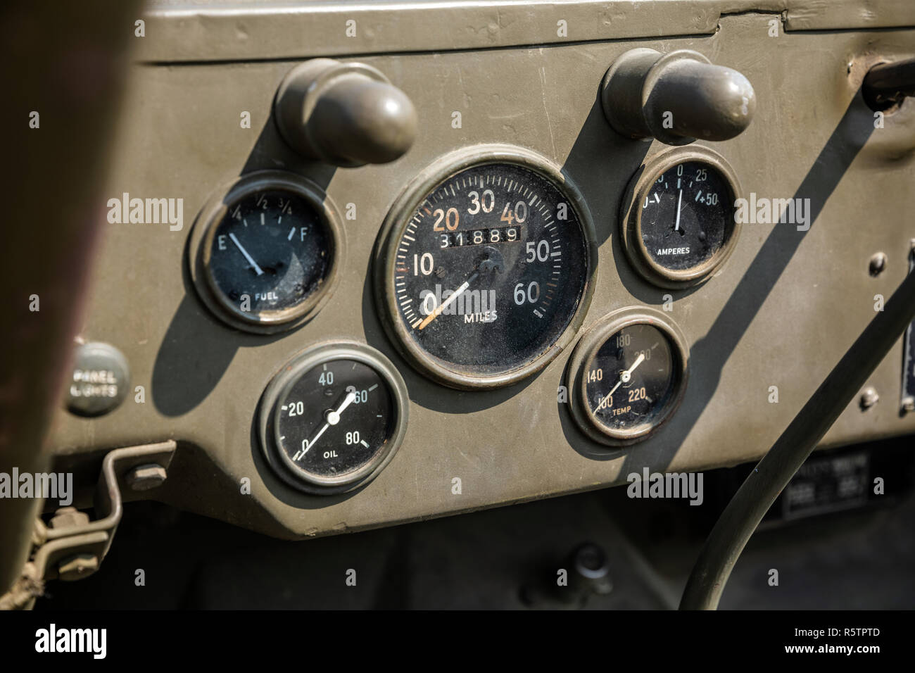 Dashboard of military green khaki vehicle of the WWII - Stock Image