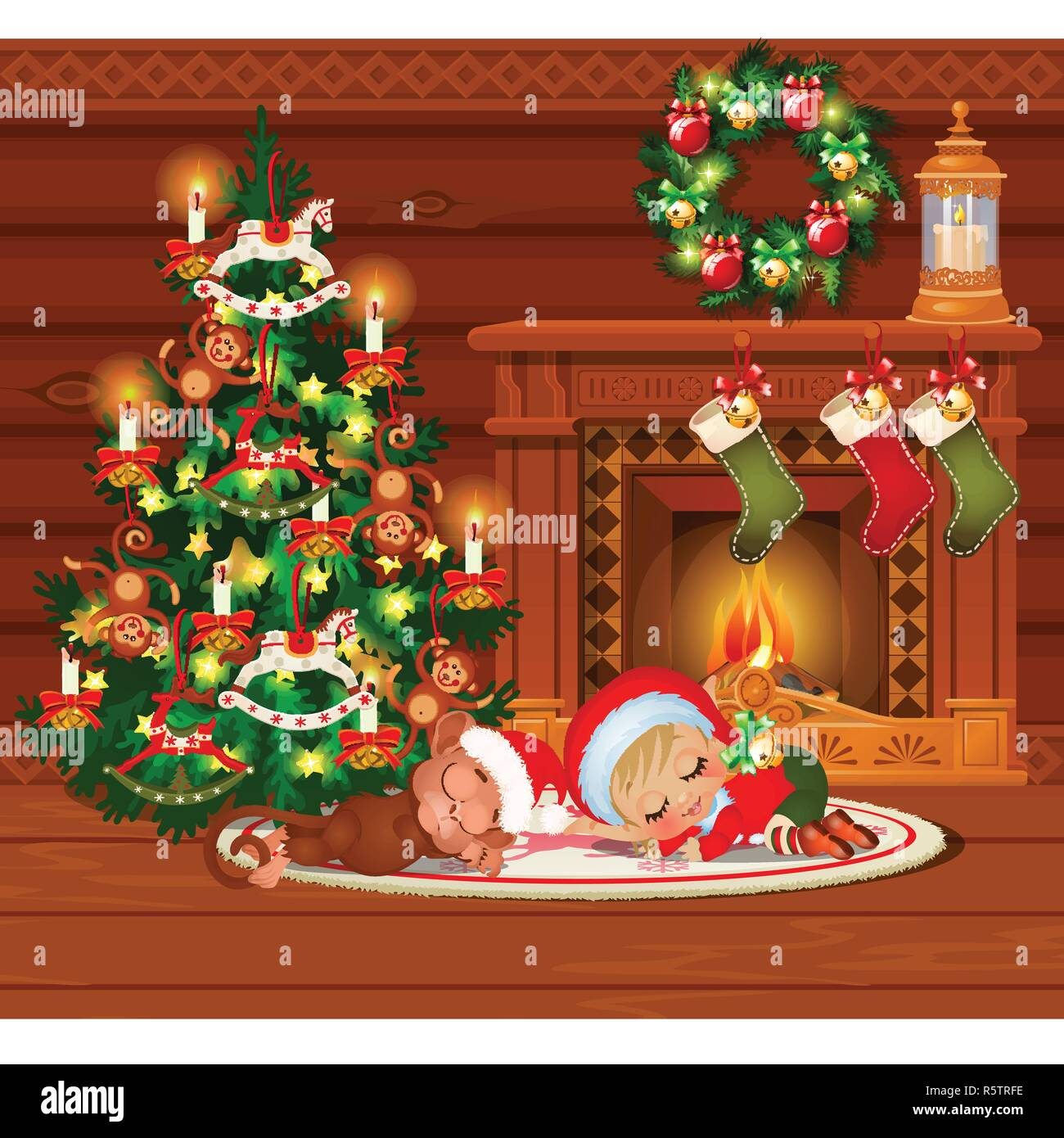 Inside the old cozy wooden village house. Home furnishings. Sketch of Christmas festive poster, party invitation, other holiday card. Little boy and monkey sleep. Vector cartoon close-up illustration. - Stock Vector