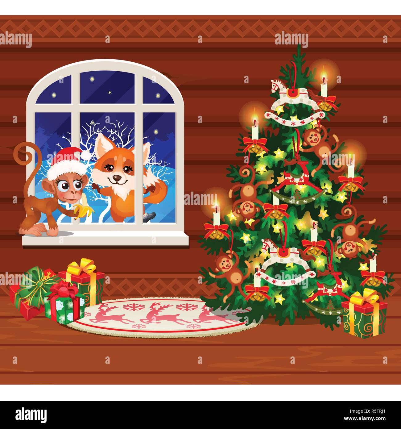 Inside The Old Cozy Wooden Village House Home Furnishings Christmas Tree With Gift Boxes Sketch Of Festive Poster Party Invitation Other Holiday Card Vector Cartoon Close Up Illustration Stock Vector Image Art